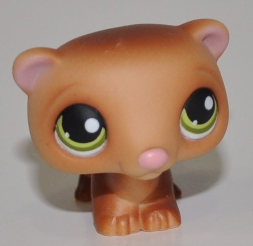 Ferret #209 (Tan/Brown, Green Eyes) - Littlest Pet Shop (Retired) Collector Toy - LPS Collectible Replacement Single Figure - Loose (OOP Out of Package & Print)