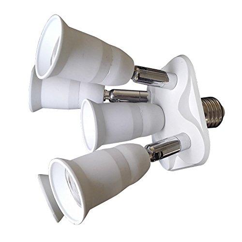 E-Simpo - Adaptador de foco E26/E27 con casquillo Edison y adaptador de foco LED ajustable de 180 grados
