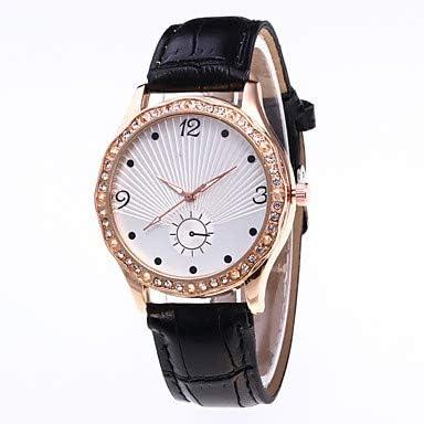 Sports watches Relojes de Hombre Mujer Reloj de Pulsera Chino Reloj Casual PU Banda Moda Negro/Blanco/Azul Relojes de Mujer (Color : Blanco)