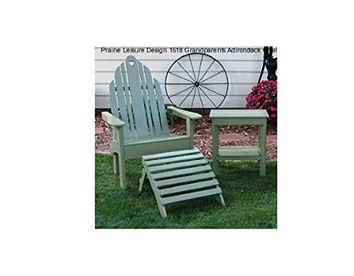 CHOOSEandBUY Grandparents Chair & GP Ottoman Set - Berry Blue Design Wood Adirondack Rocking Several (Blue Berry Adirondack Chair)