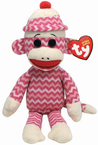 Ty Beanie Babies Socks The Monkey (Pink/White Zig Zag) (Zig Zag Beanie)