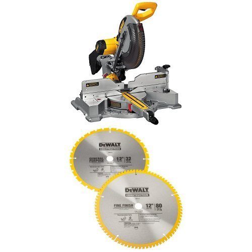 DEWALT DWS709 Slide Compound Miter Saw, 12-Inch w/ DW3128P5 80 Tooth and 32T ATB Thin Kerf 12-inch Crosscutting Miter Saw Blade, 2 Pack