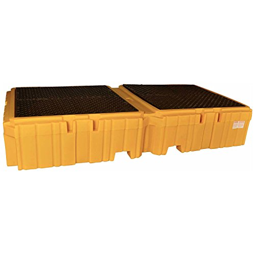 UltraTech 1144 Polyethylene Ultra-Twin IBC Spill Pallet with Drain, 8000 lbs Capacity, 5 Year Warranty, Yellow