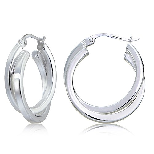 Sterling Silver Square-Tube Double Twisted 25mm Round Hoop Earrings (Mm 25 Hoop Round)