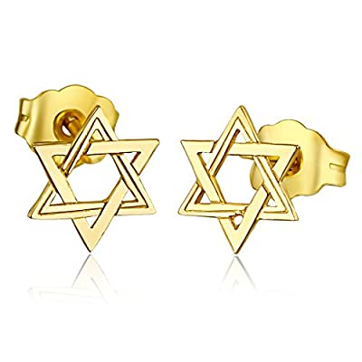Hot Wellingsale Ladies 14k Yellow Gold Polished Star of David Stud Earrings (6 X 6mm) for sale