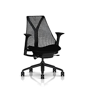 Herman Miller Sayl Ergonomic Office Chair with Tilt Limiter and Carpet Casters Stationary Seat Depth and Arms Black Frame with Black Rhythm Seat