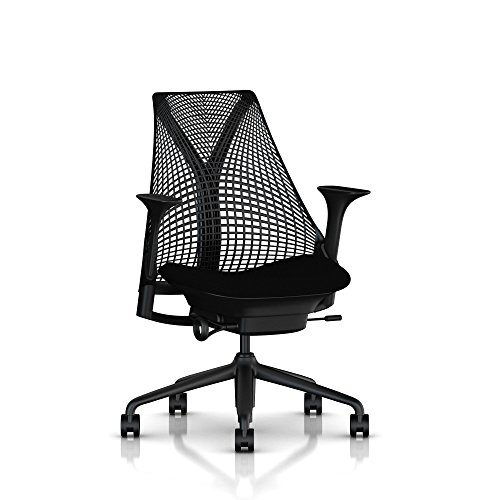 Herman Miller Sayl Task Chair: Tilt Limiter - Stationary Seat Depth - Stationary Arms - Standard Carpet Casters - Black Base & (Herman Miller Office Table)