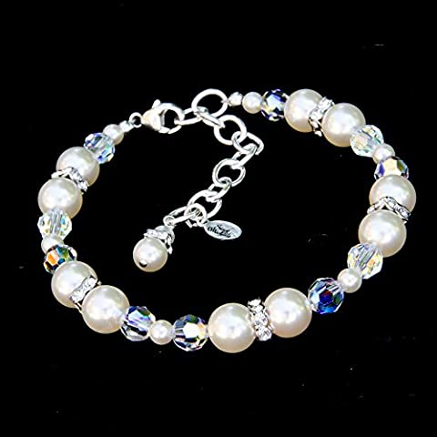 Ivory-Color Bracelet with Swarovski Simulated Pearls, Crystals, Rhinestones, and Sterling Silver - Element Spacer