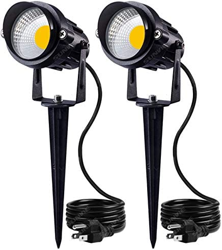 SUNVIE Outdoor Landscape LED Lighting 12W Waterproof Graden Lights COB Led Spotlights with Spiked Stand for Lawn Decorative Lamp US 3- Plug 3000K Warm White 2 Packs
