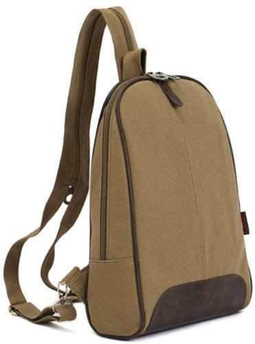 Zenness Super Hot Canvas Leisure Backpack Small Sling Bag (Apricot)