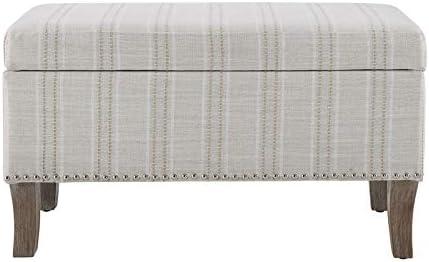 Linon Stephanie Stripe Wood Upholstered Storage Ottoman