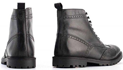 Base London Troop Noir Hommes Mid Cheville Cuir Hi Chaussures
