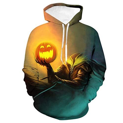 wuliLINL Horror Characters Halloween Hoodie, Long Sleeve Sweatshirt Top Blouse(Orange,S)