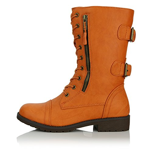 Wallet Sassy DailyShoes Pocket Combat up Credit Mid Calf Military Lace High Women's Orange Boots Card Knife Money 7FwrZ7