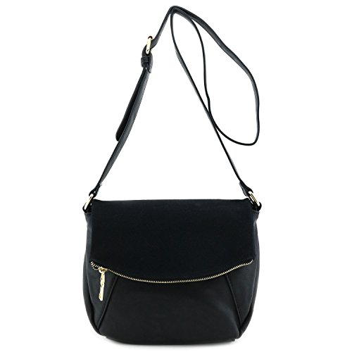 (Faux Calfskin Leather Crossbody Bag with Suede Flap Black )