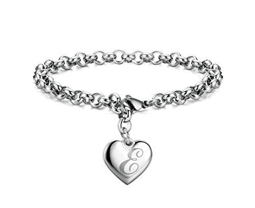 Monily Initial Charm Bracelets Stainless Steel Heart Letters E Alphabet Bracelet for Women