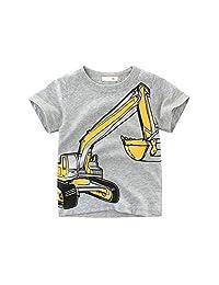Bebogo 2-7Y Kids Short Sleeves T-Shirts Animal Car Shark Tops Little Boys Summer Casual Tees