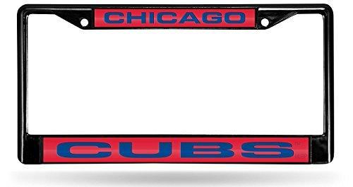 (Chicago Cubs BLACK LASER FRAME Chrome Metal License Plate Cover Tag Baseball )