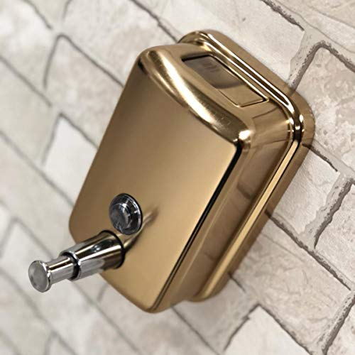 500ml. Commercial Wall Mount Soap/Lotion Dispenser with Pump/Push Button-Liquid Soap/Lotion Dispenser Brass Antique Brass/Gold Polished-Gift-Brass Bathroom Accessories (Gold Polished)