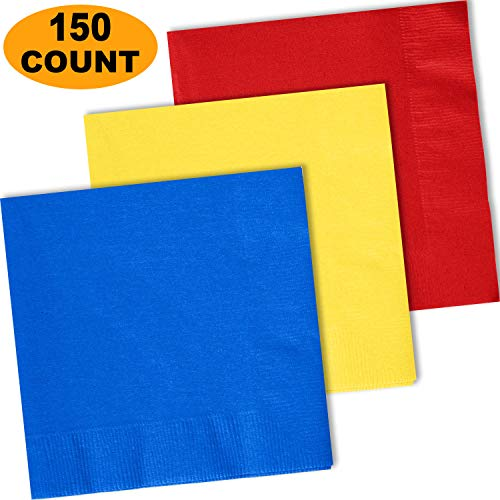 150 Lunch Napkins, Cobalt Blue, Lemon Yellow, Red - 50 Each Color. 2 Ply Paper Dinner Napkins. 6.5