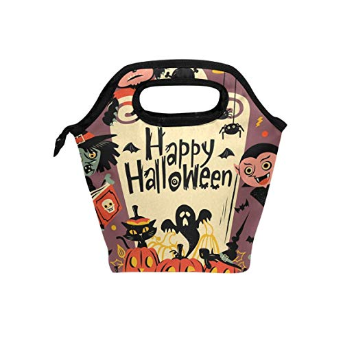Insulated Neoprene Lunch Bag Removable Shoulder Strap Reusable Thermal Lunch Tote Bags For Women/Men,Teens,Boys,Girls,Kids,Baby-Lunch Boxes For Outdoor,Office,School, Halloween Party Cat Pumpkin