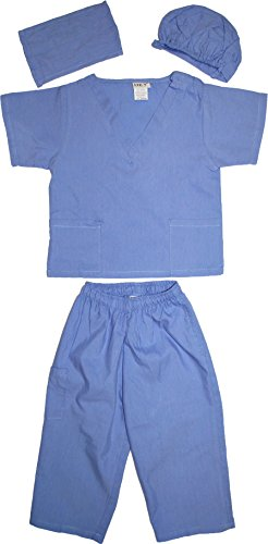 Kids Doctor Dress up Surgeon Costume Set, 8/10, Ceil Blue -