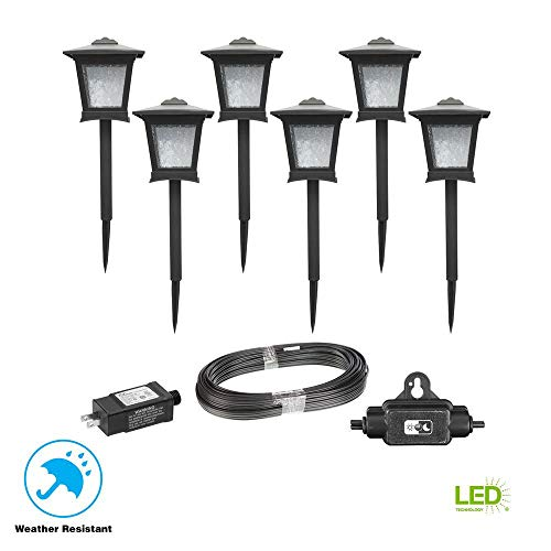 Hampton Bay HD33678BK Low Voltage Black Outdoor Integrated LED Landscape Path Light (6-Pack Kit) (Hampton Bay Low Voltage Led Landscape Lighting)