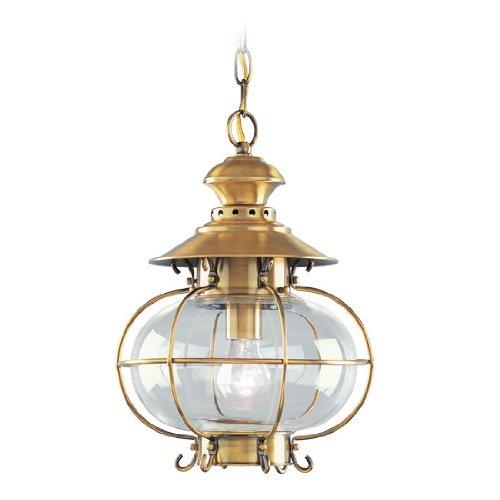 Livex Lighting 2225-22 Harbor 1-Light Outdoor Hanging Lantern, Flemish Brass ()