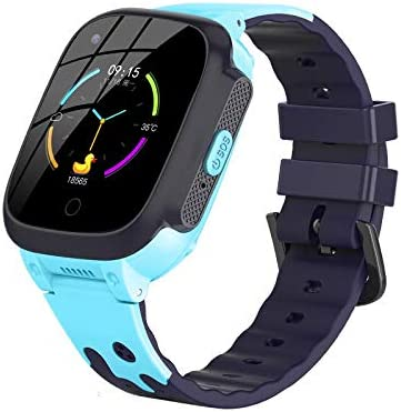 4G Kids Waterproof Smart Watches for Girls and Boys with GPS Tracker and Thermometer Fitting Android and iOS (Blue)