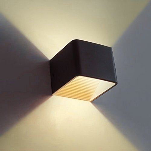 Wall Sconces, Awakingdemi Modern 5W LED Wall Mounted lamp, Warm Light Indoor Bedside Lamp Corridor Lights, LED up Down Wall Light (Black)