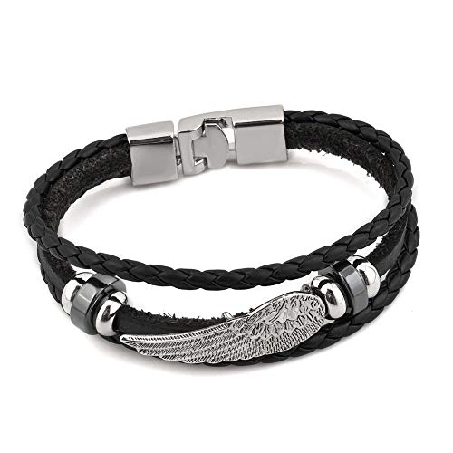 CLY Jewelry Leather Braided Wrap Bracelet Design Black with Titanium Steel Silver Angel Wings Leather Clasp Wrap Bracelet Cuff Bracelet Fashion Casual for Women Cool Style for Men