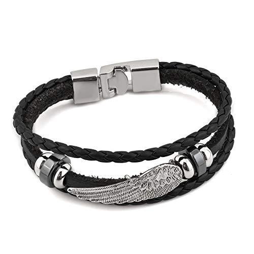 EV.YI Jewels Cool Punk Charm Multilayer Braided Leather Angel Wing Bracelet (Jewelry Men Angel Wings)