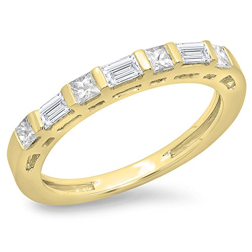 Dazzlingrock Collection 0.60 Carat (ctw) 14K Princess & Baguette Diamond Ladies Wedding Stackable Band, Yellow Gold, Size 5.5