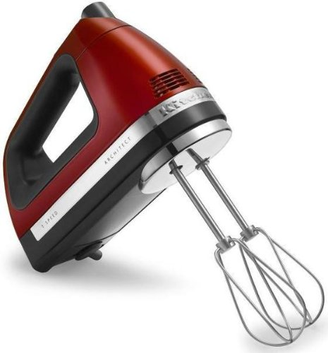 Kitchenaid 7 speed hand mixer candy apple red swivel cord with free BAG and ROD