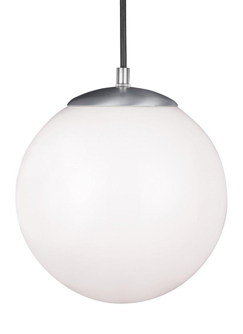 Sea Gull Ligthing 6020-04 Leo One-Light 10'' Hanging Globe Pendant, Satin Aluminum Finish