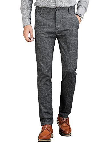 (VEGORRS Men's Slim-Fit Wrinkle-Resistant Flat-Front Casual Pant)