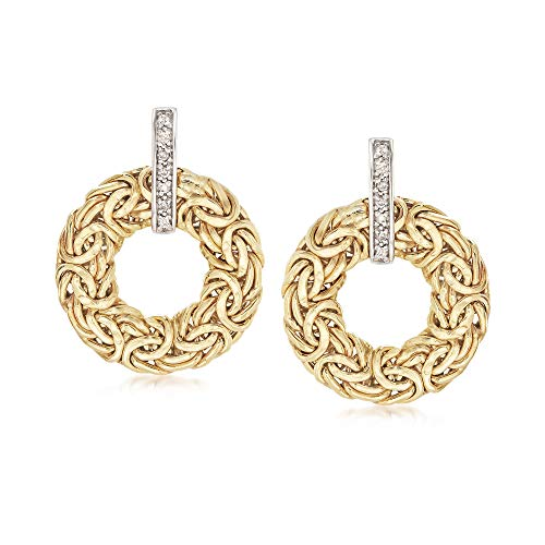 Ross-Simons 14kt Yellow Gold Byzantine Circle Drop Earrings With Diamond Accents