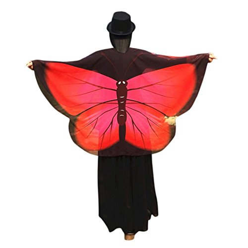 Elevin(TM)Women Soft Fabric Butterfly Wings Beach Shawl Fairy Nymph Pixie Costume Cardigan Blouse (Red 1)