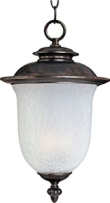 Maxim 3098FCCH Cambria Cast 2-Light Outdoor Hanging Lantern, Chocolate Finish, Frost Crackle Glass, CA Incandescent Incandescent Bulb , 60W Max., Dry Safety Rating, Standard Dimmable, Fabric Shade Material, 3360 Rated Lumens