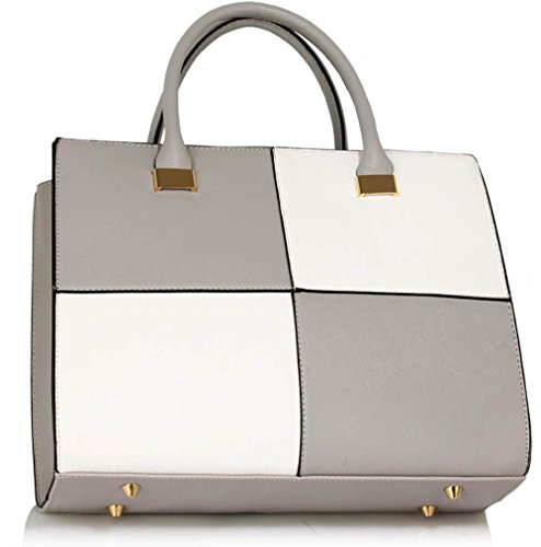 Designer Large Handbags Extra Medium Grey Bags Large Design 1 Faux Large Fashion White Large Leather Extra Womens Ladies pUwdC5qp