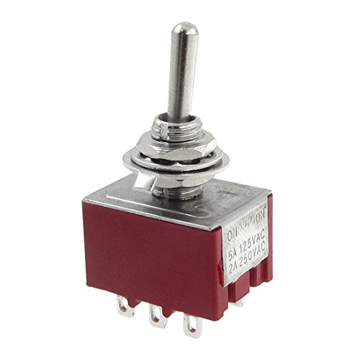 Price comparison product image Quickbuying 2A/250VAC 5A/125VAC on-on 2 Position 3P2T 3PDT 9 Solder Terminals Toggle Switch