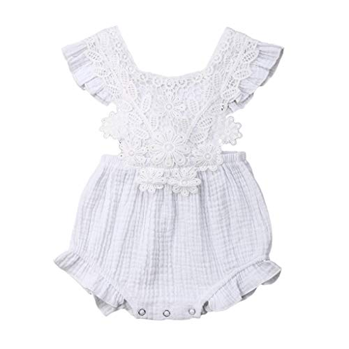 Newborn Toddler Baby Girls Lace Romper Cute Flower Bodysuit Summer One Piece Jumpsuit Clothes White