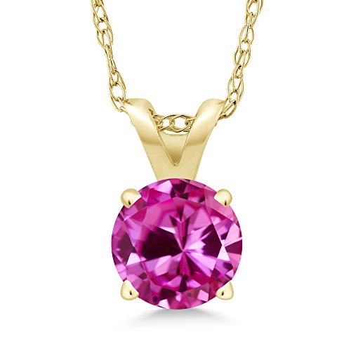 1.00 Ct Round Pink Created Sapphire 14K Yellow Gold Pendant With Chain (Pink Sapphire Yellow Necklace)