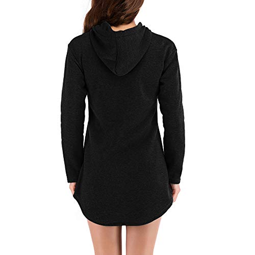 Brief Blouse Temperament Hoodie Women Sleeve Coat Women's Black Jersh Casual Sweatshirt Solid Hooded Irregular Pullover Long Outerwear wOYfZgqn