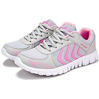 Aisence - Zapatillas de Running de Tela para Mujer Light Grey Pink