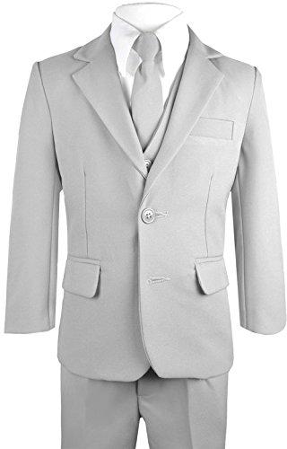 Black n Bianco Big Boys Solid Suit and Tie (14, Grey)