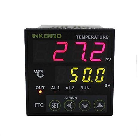 Inkbird PID Digital Controlador de Temperatura 2 Relés Omron ITC-100RH 220V, Termostato Controlador de Refrigeración y Calefacción para Acuario, Elaboración de la cerveza, Hogar y Laboratorio