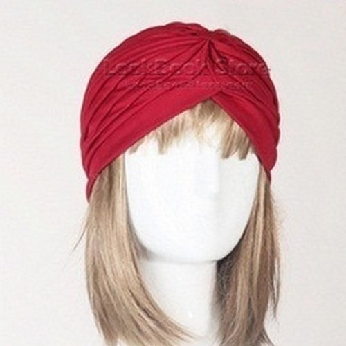- Fashion Women Gathered Knot Pleated Rib Design Turban Headband Head Band Hat Case, Dark Red
