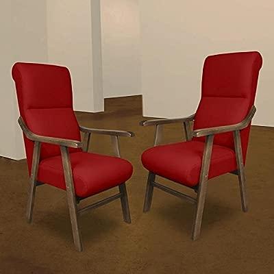 SERMAHOME Pack 2 Sillones butaca Boston, Estructura de Madera de Haya Color Nogal. Tapizado en Tela Antimanchas Color Rojo. Sillon para Comedor | ...