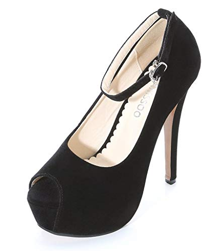 (CAMSSOO Womens Platform Heels Peep Toe Single Band Ankle Strap Stiletto High Heels Dress Shoes Black Velveteen Size US10.5 EUR44)